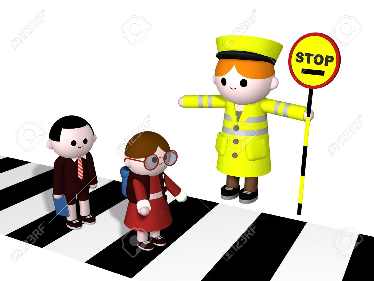 3024410-3D-illustration-of-a-lollipop-Lady-guiding-two-children-across-a-zebra-crossing-Stock-Illustration